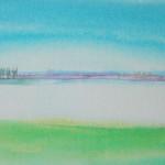 Suffolk, Thin Red Line 3 - Acrylic on canvas - 53cm x 41cm