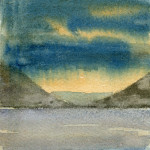 Glencoe rainstorm, Scotland - Watercolour - 12cm x 12cm