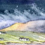 Looking Towards Inishnee, Co.Galway, Ireland - Watercolour - 8cm x 8cm