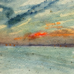 Looking towards Manningtree, Essex - Watercolour - 12cm x 12cm