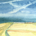 Wissat nr Calais, France - Watercolour - 12cm x 12cm